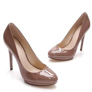 Brian Atwood Frederique Patent Leather Taupe Heels